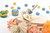 Eco Painted Handmade Wooden Toy Spinning Top With Flowers For Children