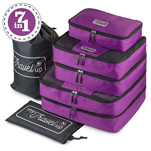 MyTravelUp, 7in1 - TRAVEL PACKING CUBES for everyone who loves travelling, durable material, 2 BAGS for LAUNDRY/SHOES. This travel set will be a SMART ORGANIZER for clothes (Purple) by MyTravelUp