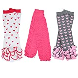 3 Pairs of girls juDanzy baby Leg Warmers for newborn, infant, toddler, child (One Size (10 pounds to 10+ years), Lots Of Love)