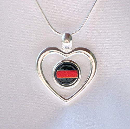 Dichroic Jewelry - THIN RED LINE Firefighter Jewelry Women Ladies Silver Heart Dichroic Fused Glass Pendant Necklace