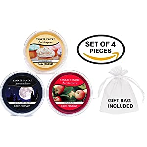 Yankee Candle Fragrance Favorites MeltCups -- Midsummer's Night + Vanilla Cupcake + Macintosh -- Set of 3 Easy Meltcups Scenterpiece Wax Warmer System Refills with one Sheer White Organza Gift Bag