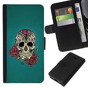 KLONGSHOP // Tirón de la caja Cartera de cuero con ranuras para tarjetas - Rose Tattoo Ink Blue Rock rodillo metálico - LG OPTIMUS L90 //