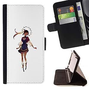 BullDog Case - FOR/Samsung Galaxy S6 / - / GIRL ROMANIA BULGARIA ATTIRE DRESS DANCE /- Monedero de cuero de la PU Llevar cubierta de la caja con el ID Credit Card Slots Flip funda de cuer