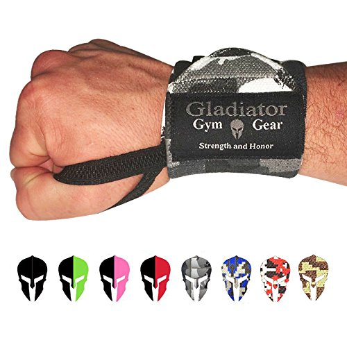 GLADIATOR GYM GEAR Weightlifting WRAP with Thumb Loops - Support & Protection for Power Lifting Cross Training & Bodybuilding G3 Wrist Wraps - The Ultimate Power WRAP for Men and Women (Wcamo)