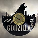 Godzilla vinyl wall clock - handmade unique home bedroom living kids room nursery wall decor great gifts idea for birthday, wedding, anniversary - customize your clock (Gold/Black)