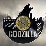 Godzilla vinyl wall clock - handmade unique home bedroom living kids room nursery wall decor great gifts idea for birthday, wedding, anniversary - customize your clock (Gold/Black)