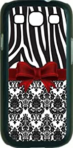 Black and White Zebra and Damask Pattern with a Red Ribbon - Black Rubber case with flap - for the Samsung« Galaxy S3 I9300 Case