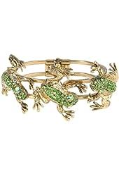 EVER FAITH® Vintage Inspired Frog Bracelet Green Austrian Crystal