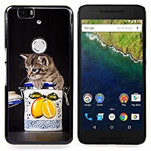 Stuss Case / Funda Carcasa protectora - Gatito Gato lindo en un tarro - Huawei Google Nexus 6P