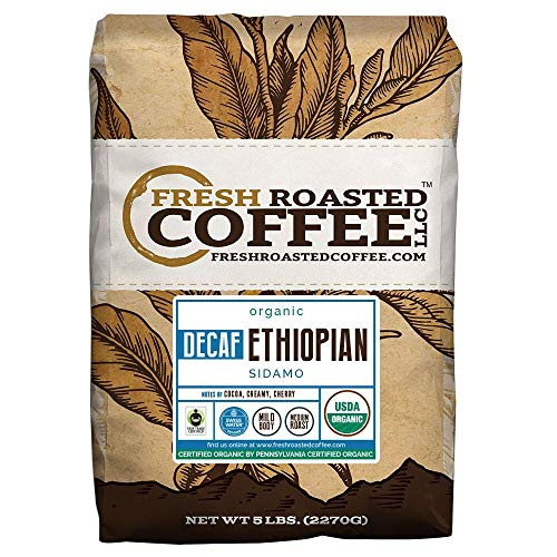 Fresh Roasted Coffee LLC, Organic Ethiopian Sidamo Decaf Coffee, Water Process Decaf, USDA Organic, Fair Trade, Medium Roast, Whole Bean, 5 Pound Bag