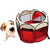 Machao Pet Foldable Exercise Kennel 600D Oxford Playpens Dogs Cats Bed Wigwam Removable Tent for Indoor/outdoor/Travel with Mesh-Red and White For Sale