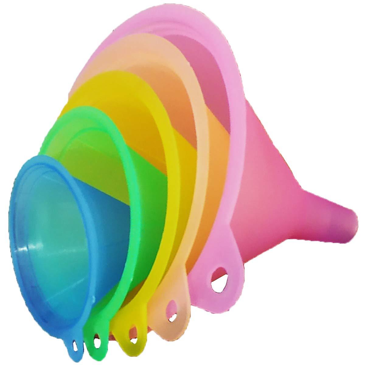 Set Imbuto per Cucina e casa YAOYIN Imbuto da Cucina Colori Arcobaleno Set di imbuti 5 Pezzi Resistente al Calore per Alimenti Imbuto per Olio Mini Imbuto ausilio per riempimento