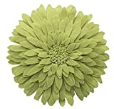 Fennco Styles Elegant 3D Sunflower Decorative Throw Pillow 13'' Round (Lime, Case+Insert)