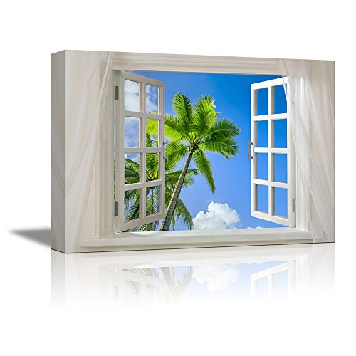 Glimpse into Blue Sky with Palm Trees out of Open Window Wall Decor ation