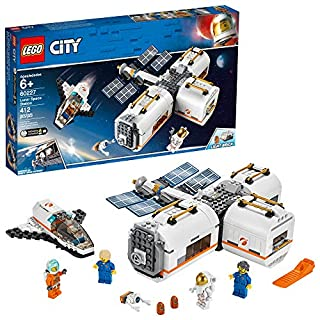 LEGO City Space Lunar Space Station 60227 Space Station Building Set with Toy Shuttle, Detachable Satellite and Astronaut Minifigures, Popular Space Gift (412 Pieces)