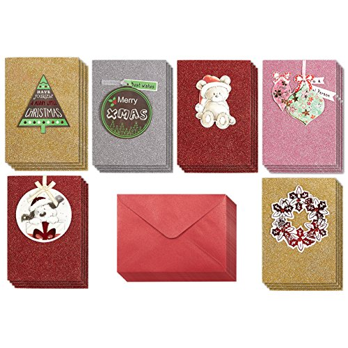Set of 24 Handmade Christmas Greetings Cards - Bulk Glittering Cards with Assorted Christmas Themes, 6 Designs - Includes Red V-Flap Envelopes, 4.6 x 6.5 Inches (Christmas Puppies Merry)