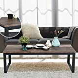 Black and Brown Wood Coffee Tables Aingoo Rustic Coffee Table Large Sofa Table Mid-Century Rectangle with Metal Frame Dark Brown 43