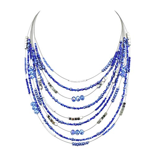Bocar Multilayer Colorful Handmade Seed Beads Illusion Chain Bib Necklace Wedding Bridal Jewelry (NK-10315-royalblue)