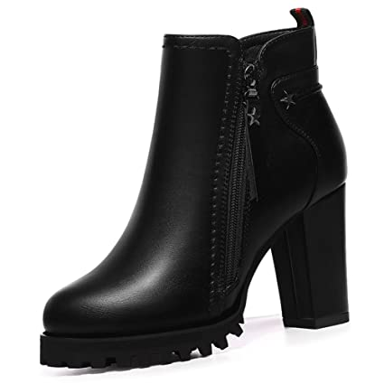 a199bd6fec40 Fashion Women's Boots, Boots Autumn Winter New Thick Heel Ankle Boots Short  Tube Women's Leather Boots (Color : Black, Size : 39): Amazon.ca: Patio, ...