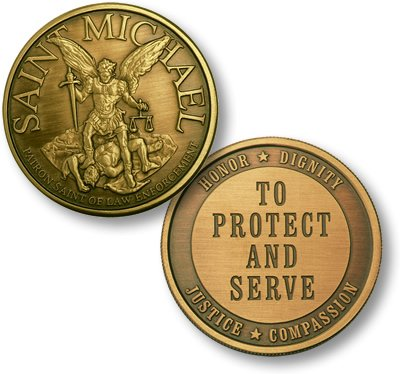 Saint Michael To Protect Bronze Antique Challenge Coin
