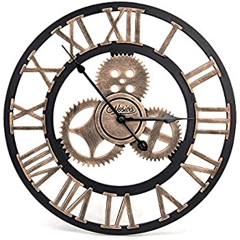 industrial wall clock amazon this item handmade wooden gear large rustic decorative big retro vintage decor style clocks melbourne antique