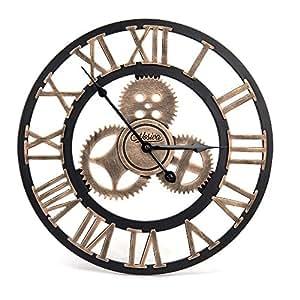 Amazon.com: Industrial Wall Clock Handmade 3D Wooden Gear ...
