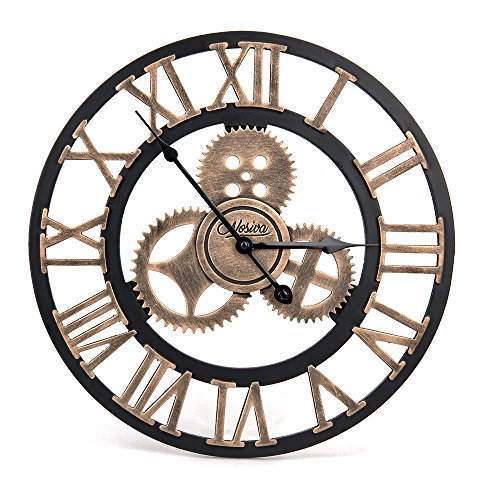 Industrial Wall Clock Handmade 3D Wooden Gear Clock Large Rustic Decorative Wall Clock Big European Retro Vintage Clock Wall Decor for Retro Style Liv…