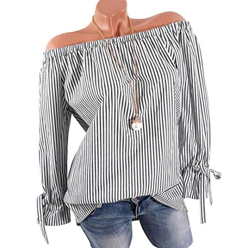 Cold Shoulder Blouses Top, Clearance Duseedik Womens Fashion Long Sleeve Blouse Stripe Print Sexy Shirts Off Shoulder Tops