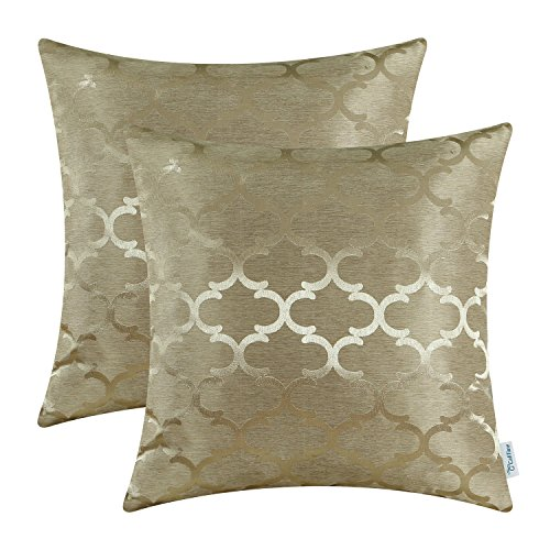 CaliTime Pack of 2 Cushion Covers Throw Pillow Cases Shells for Home Sofa Couch Modern Quatrefoil Accent Geometric 18 X 18 Inches Amber (Gold Satin Sham)