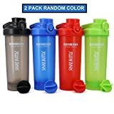 AUTO-FLIP Shaker Bottle 2 Pack for Protein Mixes Cups Powder Blender Smoothie Shakes BPA Free Small Shake With Powerful Mixing Ball - 24 Ounce (Random Full Color)