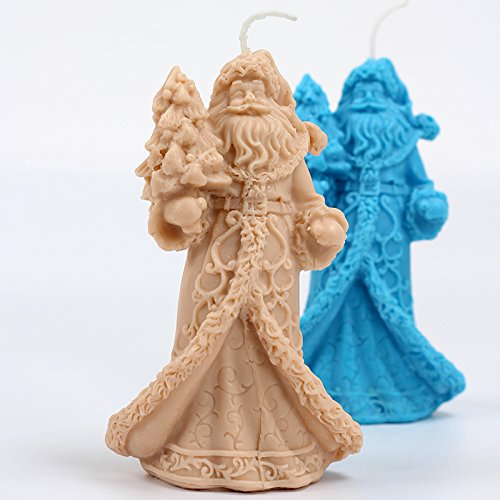 Preeyawadee Santa Candle Silicone Mold DIY Handmade Soap Mould Craft Resin Clay (Silicone Santa)
