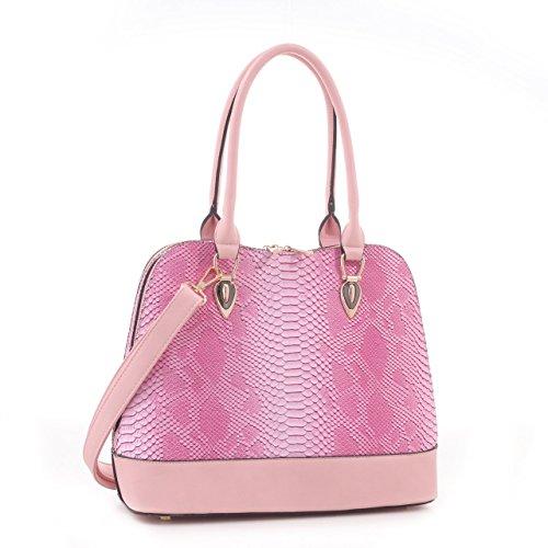 Derica Python Embossed Pattern Faux Leather Satchel Shoulder Hand Bag - ()