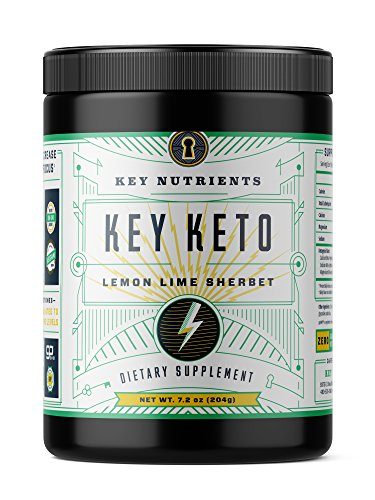 KEY NUTRIENTS Exogenous Ketone Supplement - KEY KETO Patented BHB Salts (Beta-Hydroxybutyrate) - Formulated for Ketosis, to Burn Fat, Increase Energy and Focus. Lemon Lime Sherbet (15 Servings)