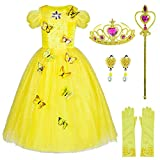 Princess Cinderella Dress Up Costume for Girls With Accessories 4-5 Years(Yellow 110cm)
