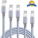 iPhone Charger - Cordking MFi Certified Lightning Cables 5Pack 2x3FT 2x6FT 10FT to USB Syncing Data and Nylon Braided Cord Charger for iPhone Xs Max XR X 8 8Plus 7 7Plus 6S 6S Plus SE iPad and More