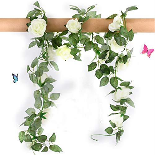 Anlise 3Pack Artificial Rose Vines Silk Garland Flower Fake Hanging Ivy Plants for Home Hotel Wedding Party Garden Craft Art Décor Cream