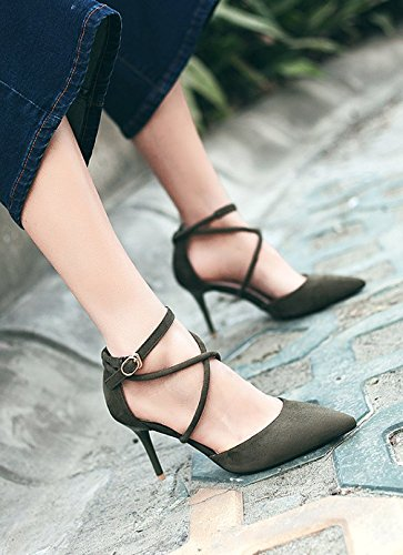 34 Heeled Lady With Thin Fine Cross Spring Sandals Leisure Work Shoes Pointed Shoes Sexy MDRW High Elegant Straps 7Cm Shoes Green Rawqff
