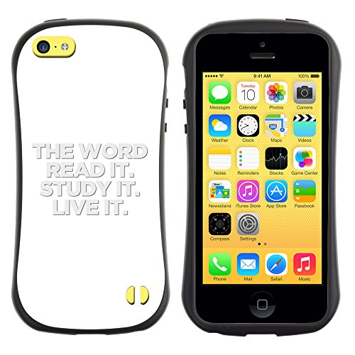 DREAMCASE Citation de Bible Silicone et Rigide Coque Protection Image Etui solide Housse T¨¦l¨¦phone Case Pour APPLE IPHONE 5C - THE WORD - READ IT STUDY IT LIVE IT