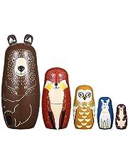 Ultnice - Muñecas rusas, matrioska de madera con forma de oso, pingüino, 5 unidades