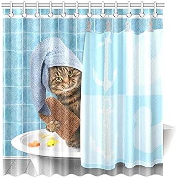 Amazon.com: InterestPrint Funny Bathing Cat Home Decor,Cute Animals ...