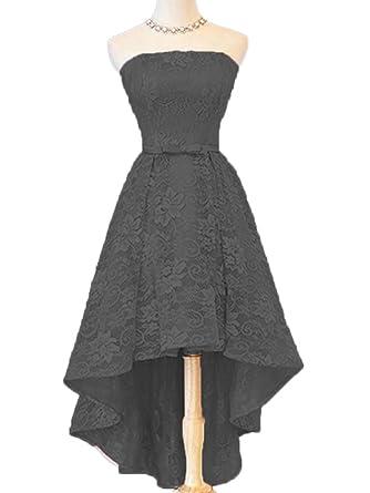 c3da2a2d3ef STDRESS Women s High Low Lace Bridesmaid Dress Prom Dresses Size 2 Black