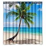 ZHANZZK Palm Tree Ocean Tropical Coast Beach Sea Bathroom Shower Curtain 66x72 inches with Hooks