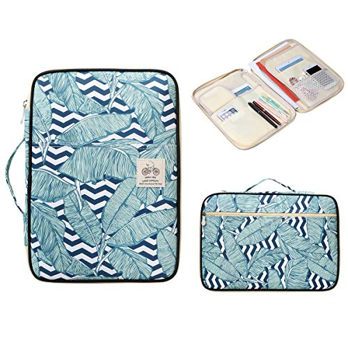 BOMKEE Waterproof Document Bag A4 Padfolio Files Ticket Organizer Holder Notepad Carrying Cases Travel Storage Pouch(Banana Leaf) (Best Travel Document Holder)