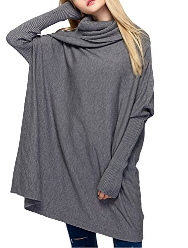Mordenmiss Women's Cowl Neck Sweaters Ribbed Pullover Knit Tops Style 1 M-Gray (Ribbed Poncho)