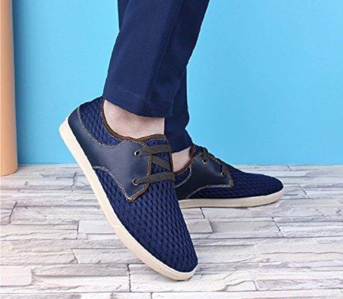 Lace marchio Bebete5858 estate mesh Up on da scarpe Blu moda estive casual traspirante scarpe uomo uomo vera pelle slip scarpe in confortevole morbido xxr1wqfO
