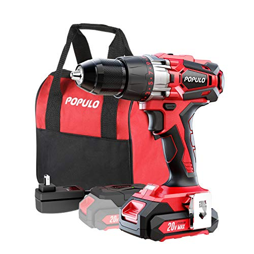 20V Max Lithium-Ion 1/2 Inch Drill Driver Kit. Max Torque 450 in-Ibs, 2 – Speed, LED Work Light. Belt Clip. Fast Charger, 20V Max Battery, Accessories and Carrying Bag Included. Populo