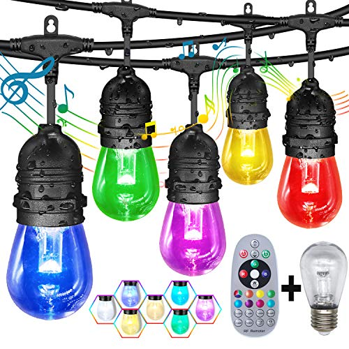 Outdoor String Lights,GANA 48fts Music Flash Color Changing String Lights,Patio Lights,Shatterproof Cafe String Lights Outdoor Waterproof Led Color Changing String Lights,for Deck,Courtyards, Patios