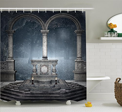 Ambesonne Gothic Shower Curtain, Altar on Checkered Floor in Scary Hazy Winter Forest Spiritual Scenery Illustration, Fabric Bathroom Decor Set with Hooks, 70 Inches, Blue Grey