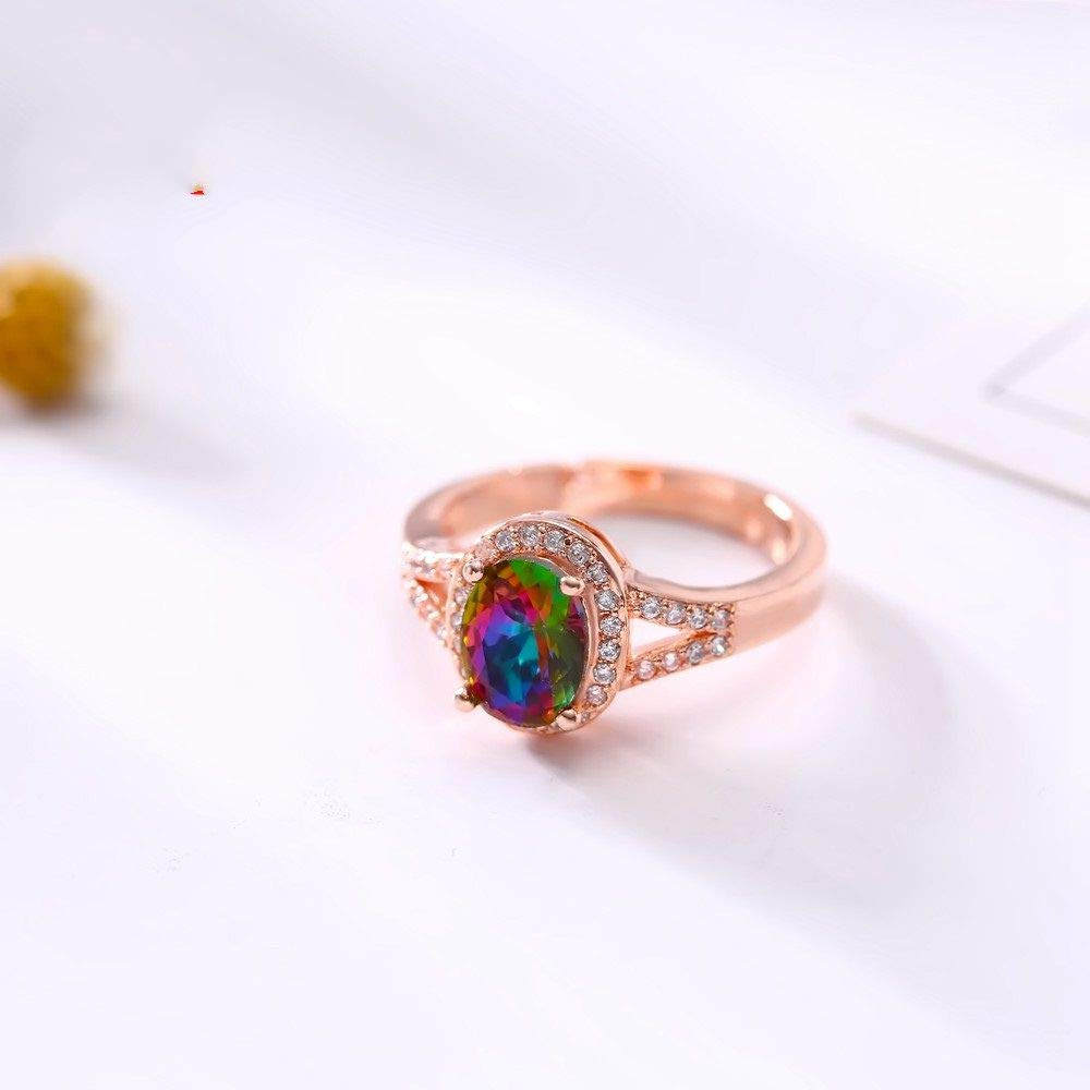 HCBYJ Lady ring Shiny Crystal Filled Transparent CZ Design Rose Gold Ring Ladies Party Ring
