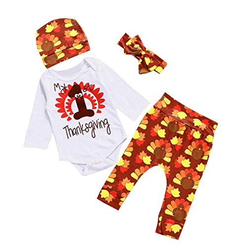 Top 10 Baby Girl Halloween Costumes (Keepfit Newborn Kids Outfits Clothes Baby Girl Boy Romper Tops+Long Pants+Hat Set for Christmas Thanksgiving and Halloween (6-12 Months, Thanksgiving))